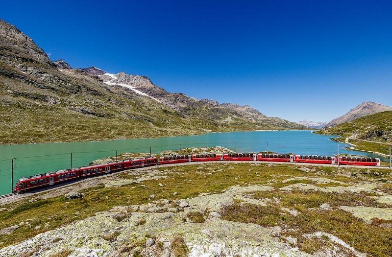 Lake Bianco and the Bernina Express