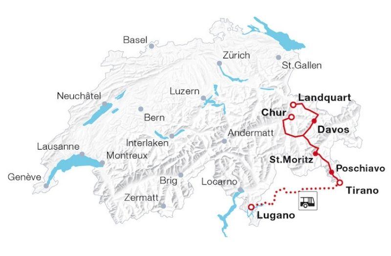 Bernina Express route map