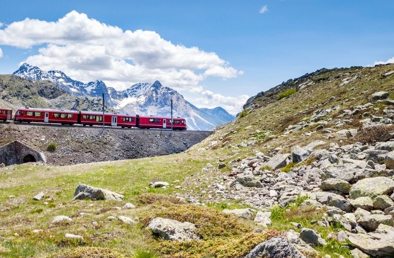 Bernina Express train passes the alps