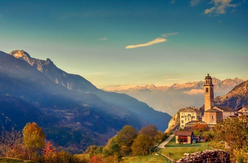 Soglio, a mountain village in Graubunden, Switzerland