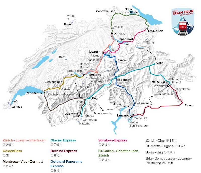 Grand Train Tour of Switzerland map