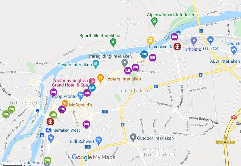 Map of Interlaken hotels