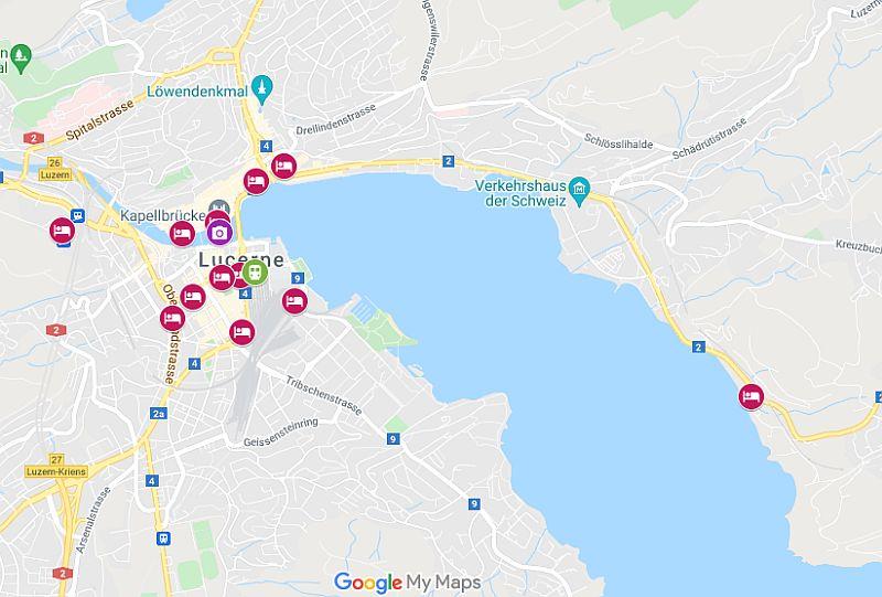 Lucerne Hotels Map