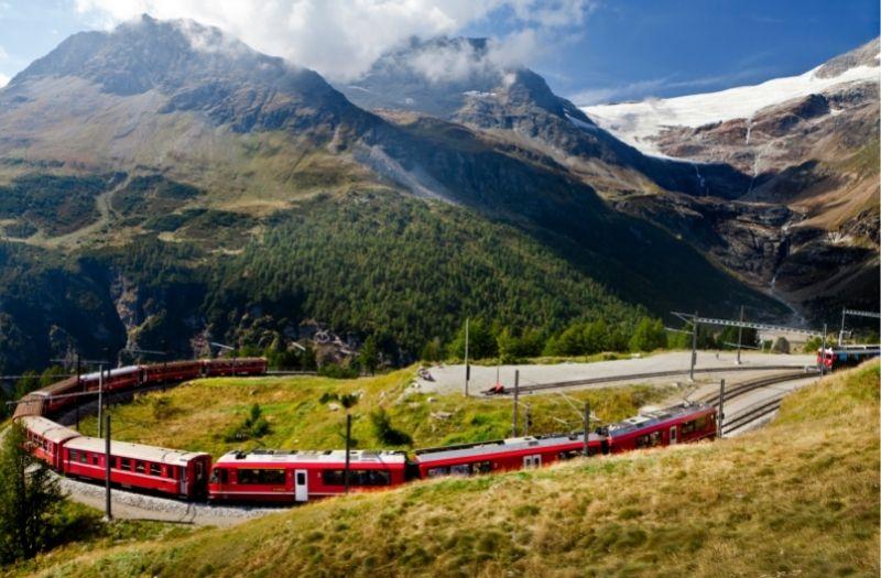 Train at Alp Grum, Switzerland