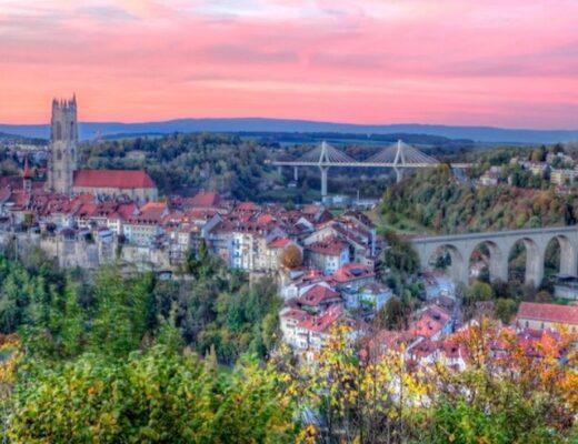 Sunset over Fribourg, Switzerland