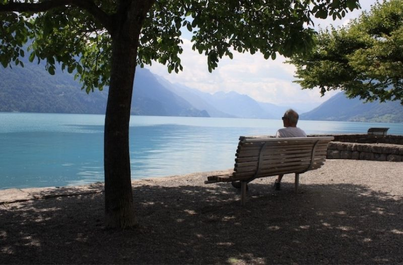 The promenade in Brienz is a lovely place to relax and enjoy the views of Lake Brienz.