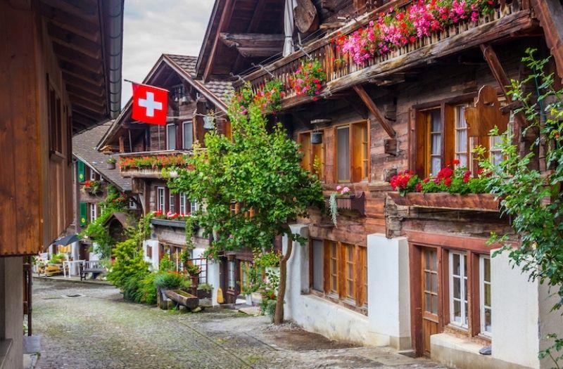 A pretty street in Brienz, Switzerland