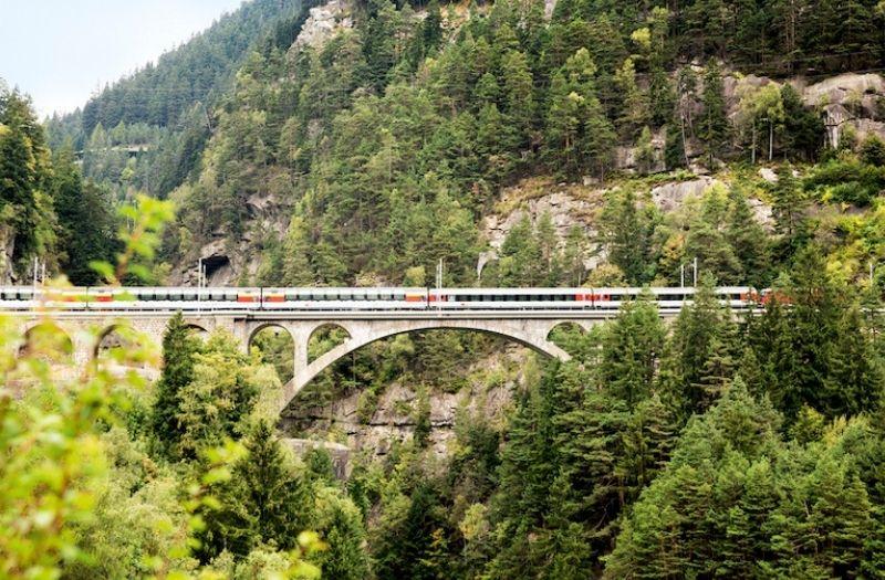 The Gotthard Panorama Express enroute between Flüelen and Lugano.
