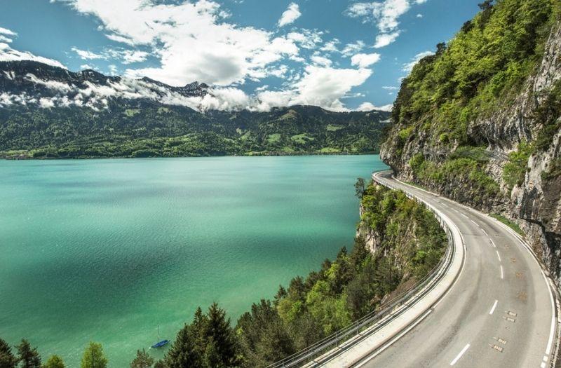 Road beside lake in Switzerland
