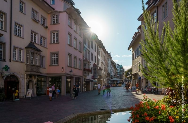 The Old Town of the city of Schaffhausen in the Swiss canton of Schaffhausen near Germany.