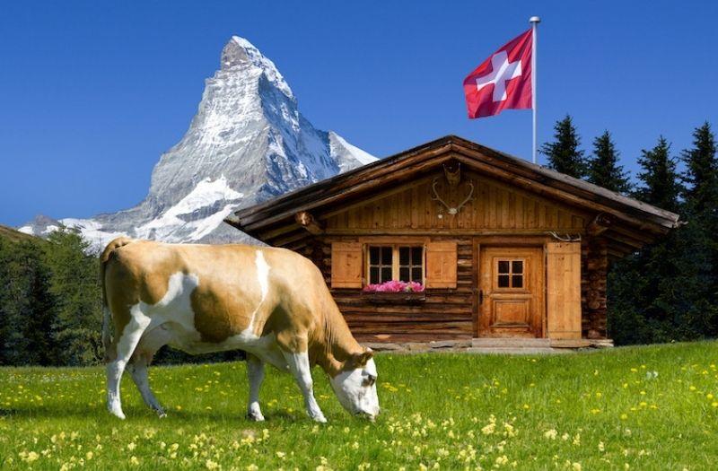 Swiss mountain hut with Matterhorn