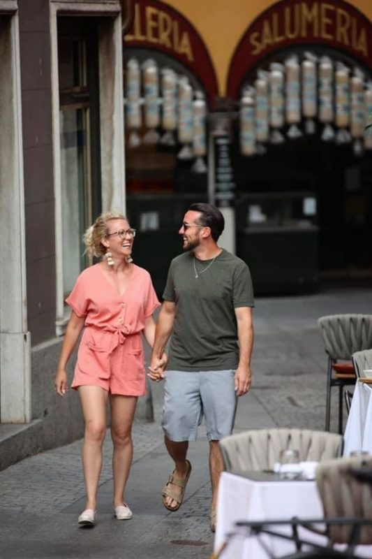 Couple strolling in Lugano