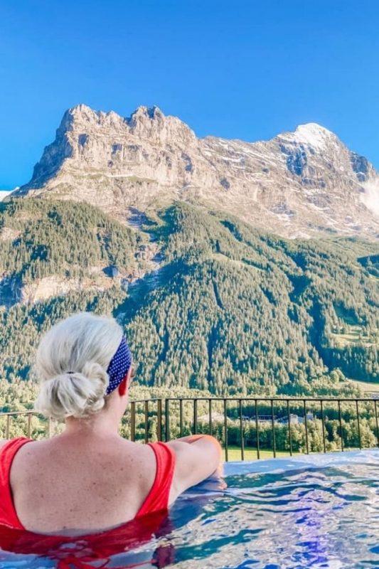 Infinity pool at Hotel Spinne Grindelwald