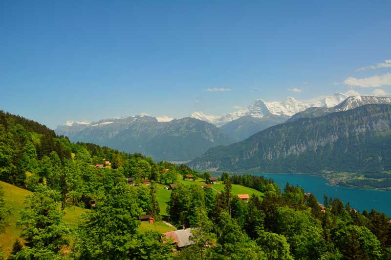 View over Lake Thun and the Bernese Alps from Niederhorn.