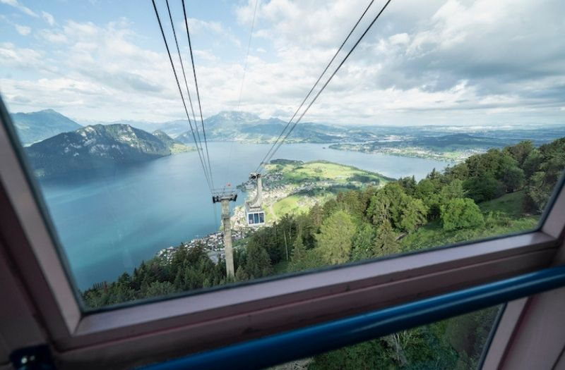 View from Mt Rigi cable car over Lake Lucerne