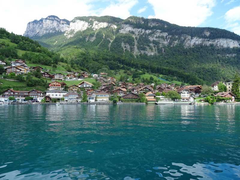 A pretty village on the shores of Lake Thun, Switzerland.